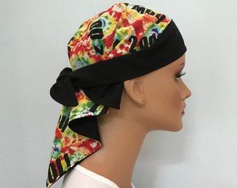 Jenna's Women and Girl's Doo Rag, Reversible Bandana, Chemo Hat, Cancer Headwear, Alopecia Scarf, Head Cover, Hair Loss, Cancer Gift Tie Dye