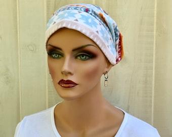 Women's Flannel Head Scarf, Cancer Headwear, Chemo Hat, Alopecia Head Cover, Head Wrap, Turban, Hair Loss, Cancer Gift, Blue Orange Aztec