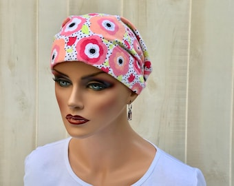 Women's Flannel Head Scarf, Cancer Headwear, Chemo Hat, Alopecia Head Cover, Head Wrap, Turban, Hair Loss, Cancer Gift, Pink Happy Flowers