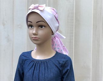 Child's Pre-Tied Head Scarf, Girl's Chemo Hat, Cancer Head Cover, Alopecia Headwear, Head Wrap, Cancer Gift, Hair Loss, Pink Unicorns