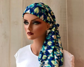 Pre-Tied Head Scarf For Women With Hair Loss. Cancer Headwear, Chemo Head Cover, Alopecia Hat, Head Wrap, Turban, Cancer Gift, Blue Aztec