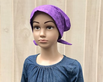 Children's Head Scarf, Girl's Chemo Hat, Cancer Headwear, Alopecia Head Cover, Head Wrap, Cancer Gift for Hair Loss, Chemotherapy, Purple