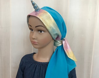 Children's Pre-Tied Unicorn Head Scarf, For Girls With Hair Loss, Gift For Daughter, Chemo Hats, Blue Unicorn