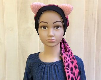 Child's Pre-Tied Head Scarf, Girl's Chemo Hat, Cancer Head Cover, Alopecia Headwear, Cancer Gift, Hair Loss, Pink Cheetah