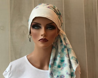Pre-Tied Head Scarf For Women With Hair Loss. Cancer Headwear, Chemo Head Cover, Alopecia Hat, Head Wrap, Turban, Teal Watercolor