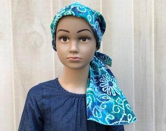 Child's Pre-Tied Head Scarf, Girl's Chemo Hat, Cancer Head Cover, Alopecia Headwear, Head Wrap, Cancer Gift, Hair Loss, Blue Floral Tie Dye