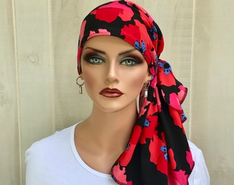 Pre-Tied Head Scarf For Women With Hair Loss. Cancer Headwear, Chemo Head Cover, Alopecia Hat, Head Wrap, Turban, Red Poppies on Black