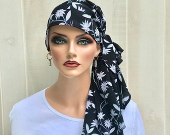 Pre-Tied Head Scarf For Women With Hair Loss. Cancer Headwear, Chemo Head Cover, Alopecia Hat, Head Wrap, Turban, Navy Blue White Flowers