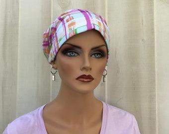 Head Scarf For Women With Hair Loss. Cancer Headwear, Chemo Hat, Alopecia Head Wrap, Hair Wrap, Head Cover, Turban,  Pink White Plaid