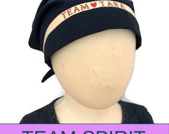 Personalized Children's Team Spirit Scarf, Cancer Hat, Chemo Head Wrap, Alopecia, Cancer Gift, Hair Loss Gift, Chemo Gift,