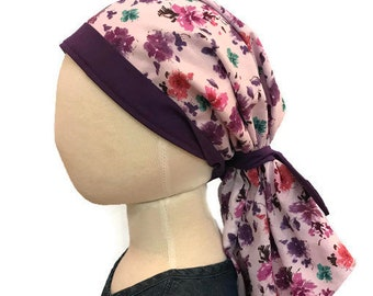 Child's Pre-Tied Head Scarf, Girl's Chemo Hat, Cancer Head Cover, Alopecia Headwear, Head Wrap, Cancer Gift, Hair Loss Gift, Purple Flowers