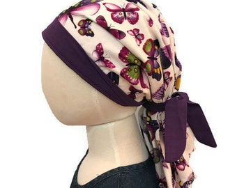 Ava Children's Pre-Tied Head Scarf, Girl's Cancer Hat Chemo Head Cover Alopecia Headwear Head Wrap Cancer Gift, Hair Loss Purple Butterflies