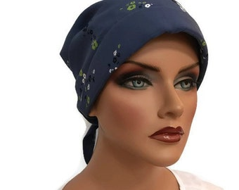 Gabrielle Pre-Tied Head Scarf -Women's Cancer Hat, Chemo Scarf, Alopecia Headwear, Head Wrap,  Head Cover for Hair Loss. Petite Blue Flowers