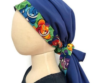 Ava Girl's Pre-Tied Head Scarf,  Cancer Hat, Chemo Head Cover, Alopecia Headwear, Head Wrap, Cancer Gift  Hair Loss Blue Clown Fish