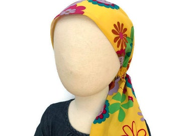 Ava Joy Children's Head Scarf, Girl's Cancer Hat, Chemo Head Cover, Alopecia Head Wrap, Cancer Gift for Hair Loss  Happy Yellow Flowers