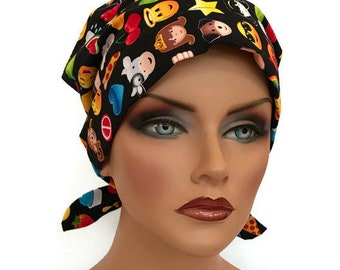Sandra Women's Surgical Scrub Cap, Cancer Hat, Chemo Head Scarf, Alopecia Head Cover, Head Wrap, Headwear, Hair Loss - Emojis
