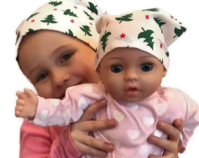Featured listing image: Twin Head Scarves, Mia Child's Head Scarf And Matching Shiri Doll Hat, Cancer Gift, Chemo, Cancer, Alopecia, Hair loss, Christmas Trees