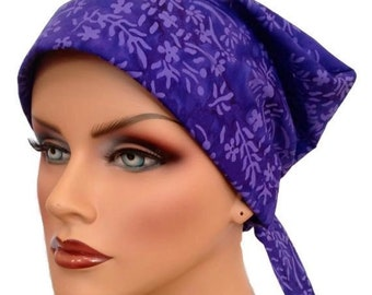 Sandra Scarf, A Women's Surgical Scrub Cap, Cancer Headwear, Chemo Head Scarf, Alopecia Hat, Head Wrap, Head Cover, Hair Loss - Purple Ferns