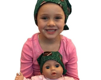 Twin Head Scarves, Jaye Flannel Child's Head Scarf And Matching Shiri Doll Hat, Cancer Gift, Chemo, Cancer, Alopecia, Hair loss, Football