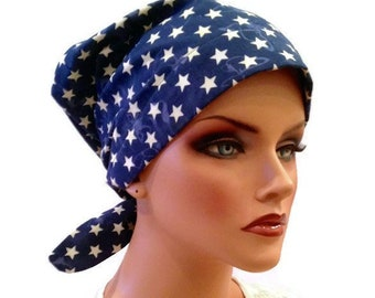 Women's Surgical Scrub Cap, Scrub Hat, Cancer Head Scarf, Chemo Headwear, Alopecia Head Cover, Head Wrap, Hair Loss Gift, Patriotic Stars