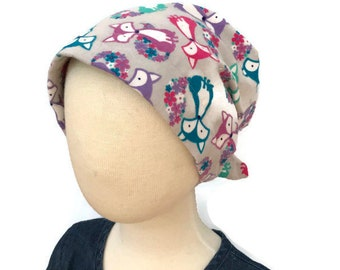 Jaye Children's Flannel Head Scarf, Girl's Cancer Hat, Chemo Head Cover, Alopecia , Head Wrap, Cancer Gift, Hair Loss  -  Gray Foxes