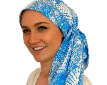 Pre-Tied Head Scarf, Women's Cancer Headwear, Chemo Head Cover, Alopecia Hat, Head Wrap, Hair Loss, Cancer Gift, Chemo Gift, Sky Blue Waves