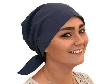 Blue Head Scarf For Women With Hair Loss, Cancer Gifts, Chemo Headwear, Denim Blue