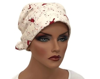 Krystal Women's Flannel Head Scarf, Chemo Hat, Cancer Scarf, Alopecia Head Cover, Head Wrap, Headwear for Hair Loss, Cancer Gift, Cardinals