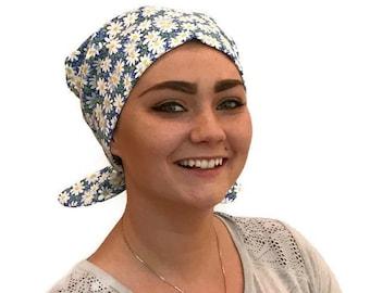 Women's Surgical Scrub Cap, Scrub Hat, Cancer Head Scarf, Chemo Headwear, Alopecia Head Cover, Head Wrap, Cancer Gift, Blue Daisies