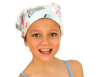 Jaye Children's Flannel Head Cover, Girl's Cancer Headwear, Chemo Scarf, Alopecia Hat, Head Wrap, Cancer Gift for Hair Loss - Winter Puppies