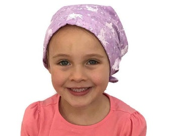 Mia Children's Head Scarf, Girl's Chemo Hat, Cancer Head Cover, Alopecia Headwear, Head Wrap, Cancer Gift for Hair Loss, Purple Fairies