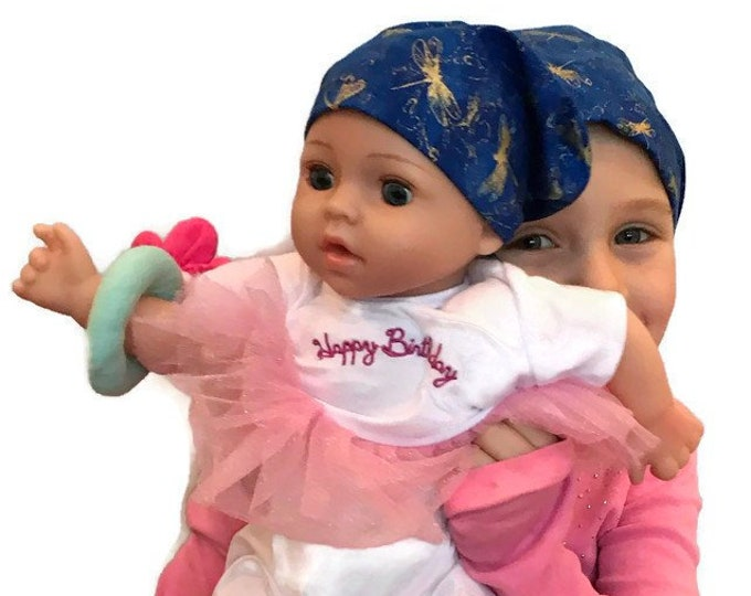 Featured listing image: Twin Head Scarves, Jill Child's Head Scarf And Matching Shiri Doll Hat, Cancer Gift, Chemo, Cancer, Alopecia, Hair loss, Blue Dragonflies