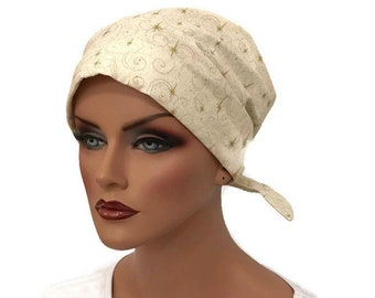 Sandra Women's Surgical Scrub Cap, Scrub Hat, Cancer Head Scarf, Chemo Hat, Alopecia Head Wrap, Cancer Gift, Hair Loss, Gold Stars