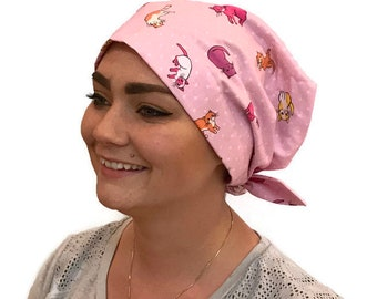 Sandra Women's Surgical Scrub Cap, Cancer Hat, Chemo Head Scarf, Alopecia Head Wrap, Headwear, Cancer Gift, Hair Loss Pink Cats