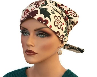 Women's Surgical Scrub Cap, Scrub Hat, Cancer Head Scarf, Chemo Headwear, Alopecia Head Cover, Head Wrap, Cancer Gift, Hair Loss, Christmas