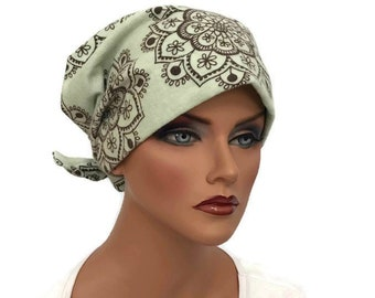 Krystal Womens Flannel Head Scarf, Chemo Hat, Cancer Scarf, Alopecia Head Cover, Head Wrap, Headwear for Hair Loss, Cancer Gift, Sage Floral