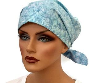 Women's Surgical Scrub Cap, Scrub Hat, Cancer Head Scarf, Chemo Headwear, Alopecia Head Cover, Head Wrap, Cancer Gift, Hair Loss,  Blue Fern