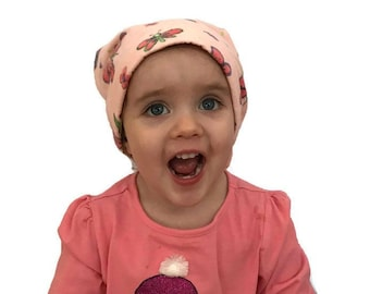 Children's Flannel Head Scarf, Girl's Cancer Headwear, Chemo Hat, Alopecia Head Cover, Head Wrap, Cancer Gift, Hair Loss, Peach Dragonflies