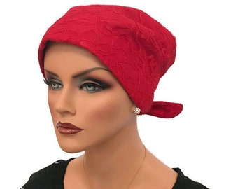 Charna Pre-Tied Special Occasion Head Scarf, Women's Chemo Hat, Cancer Head Wrap, Alopecia Headwear, Head Cover, Hair Loss. Red Lace