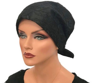 Charna Pre-Tied Special Occasion Head Scarf, Women's Chemo Hat, Cancer Head Wrap, Alopecia Headwear, Head Cover, Hair Loss, Black Lace