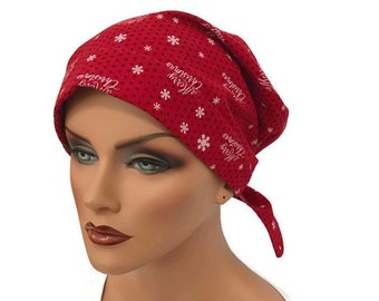 Sandra Women's Surgical Scrub Cap, Chemo Hat, Cancer Scarf, Alopecia Head Wrap, Cancer Gift, Hair Loss, Holiday Scarf, Merry Christmas