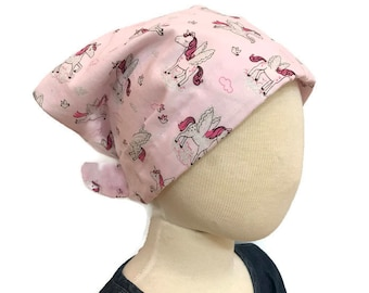 Child's Head Scarf, Girl's Chemo Hat, Cancer Headwear, Alopecia Head Cover, Head Wrap, Cancer Gift for Hair Loss Gift, Pink Unicorns