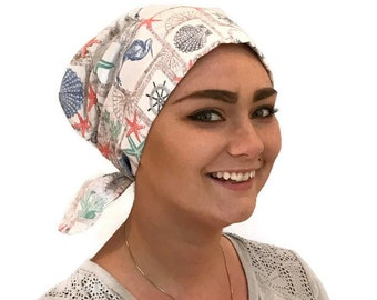 Women's Surgical Scrub Cap, Scrub Hat, Cancer Head Scarf, Chemo Headwear, Alopecia Head Cover, Head Wrap, Cancer Gift, Hair Loss, Nautical