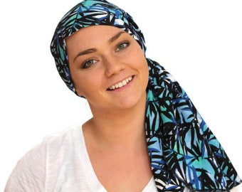 Jessica Pre-Tied Head Scarf - Women's Cancer Headwear, Chemo Scarf, Alopecia Hat, Head Wrap, Head Cover for Hair Loss - Blue Palms