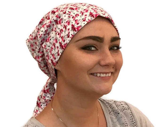 Featured listing image: Gabrielle Pre-Tied Head Scarf -Women's Chemo Hat, Cancer Scarf, Alopecia Headwear, Head Wrap, Head Cover, Hair Loss. Cranberry Red Flowers