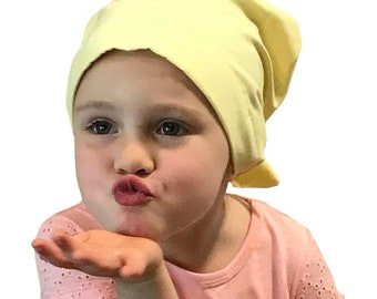 Mia Children's Head Cover, Girl's Cancer Scarf, Chemo Hat, Alopecia Headwear, Head Wrap, Cancer Gift for Hair Loss - Pale Yellow