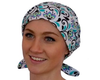 Women's Flannel Head Scarf, Cancer Headwear, Chemo Hat, Alopecia Head Cover, Head Wrap, Hair Loss Gift, Cancer Gift, Turquoise Flowers