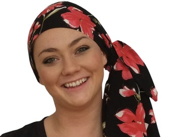 Jessica Pre-Tied Head Scarf - Women's Cancer Headwear, Chemo Scarf, Alopecia Hat, Head Wrap, Head Cover for Hair Loss - Strawberry Flowers