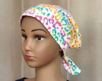 Children's Winter Flannel Hat For Girls With Hair Loss, Gift For Daughter, Chemo Hats, Pastel Rainbow Cheetah