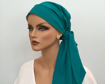 Pre-Tied Head Scarf, Women's Cancer Headwear, Chemo Head Cover, Alopecia Hat, Head Wrap, Hair Loss, Cancer Gift, Chemo Gift, Teal Green